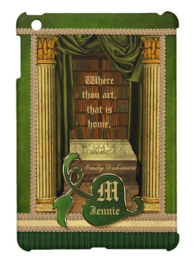 Beautiful Classical Library Old Books Green Drapes iPad Mini Case