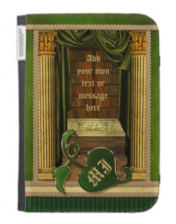 Beautiful Classical Library Old Books Green Drapes Cases For The Kindle