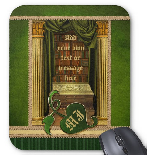 Beautiful Classical Library Old Books Green Drapes Mousepad