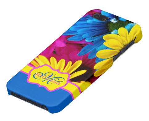 Monogrammed Vivid Cheery Daisies Pink Yellow Blue iPhone 5 Cases