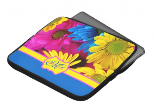 Monogrammed Vivid Cheery Daisies Pink Yellow Blue Laptop Sleeves