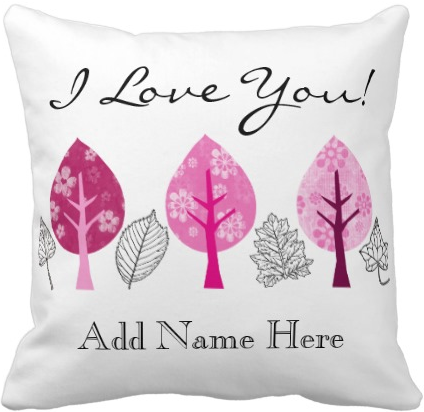 Monogrammed Patterned Pink Trees Leaves Botanical Throw Pillow by Beverly Claire Designs