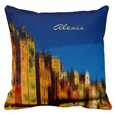 Nostalgic Retro Buildings Reflections Blue Sky Throw Pillows