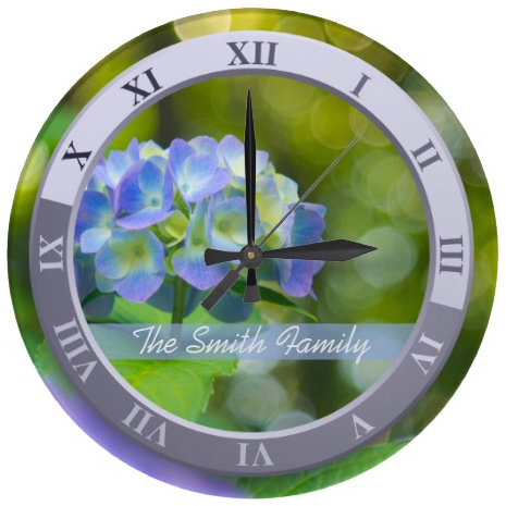 Beautiful Violet Hydrangea Green Leaf Bokeh Lights Wallclocks