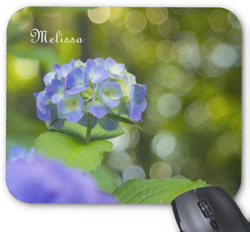 Beautiful Violet Hydrangea Green Leaf Bokeh Lights Mouse Pad