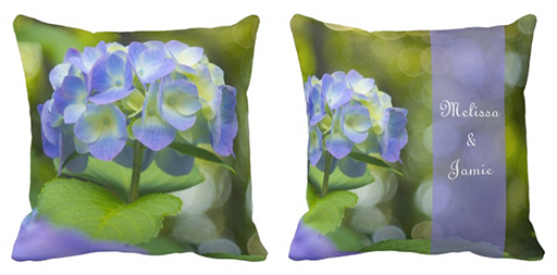 Beautiful Violet Hydrangea Green Leaf Bokeh Lights Throw Pillows