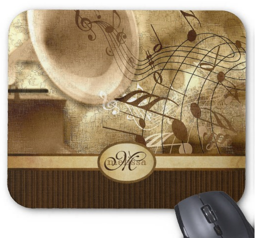 Monogrammed Vintage Gold Gramophone Musical Notes Mouse Pad