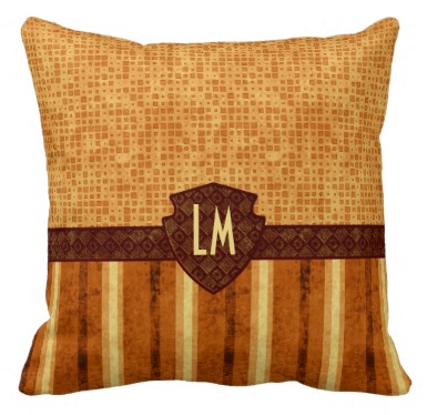 Abstract Retro Monogrammed Amber Pillow