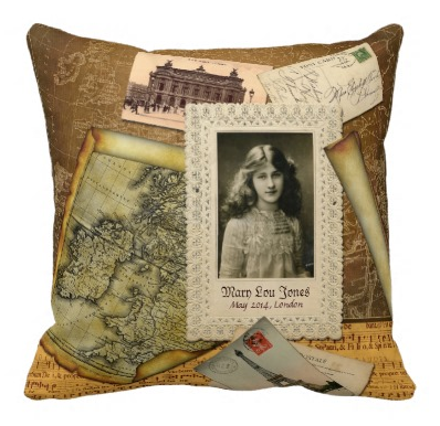 Europe Trip Old Map Postcard Collage Vintage Photo Throw Pillow