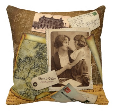Old Map Postcard Paper Collage Vintage Photo Frame Pillows