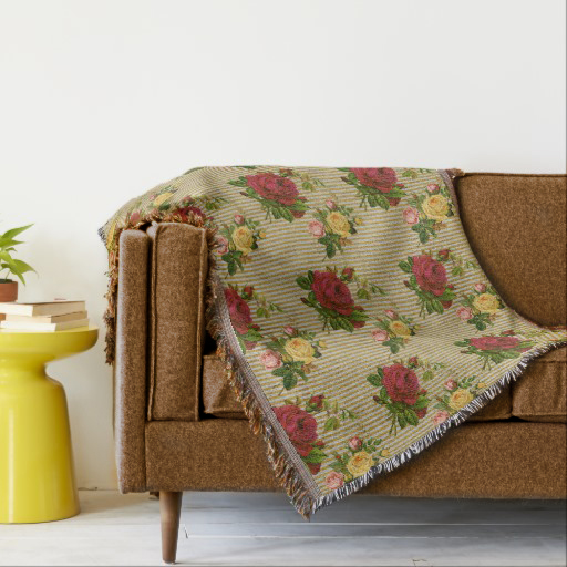 Vintage Red Yellow Peach Roses Gold Silver Glitter Stripes Throw Blanket on Zazzle by BCVintageLove