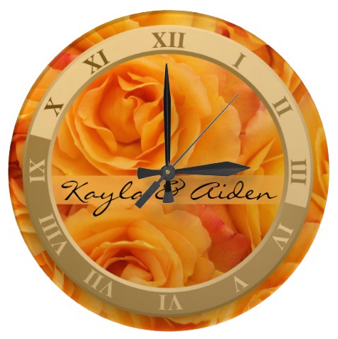 Monogram Beautiful Yellow Orange Hybrid Tea Roses Clock