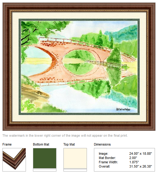 """Bridge of Dreams"", watercolor (art print) by Beverly Claire Kaiya"