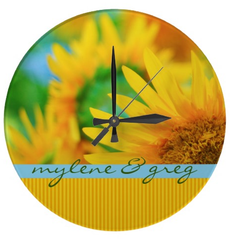 Cheerful Happy Yellow Sunflower Blue Orange Stripe Wallclocks