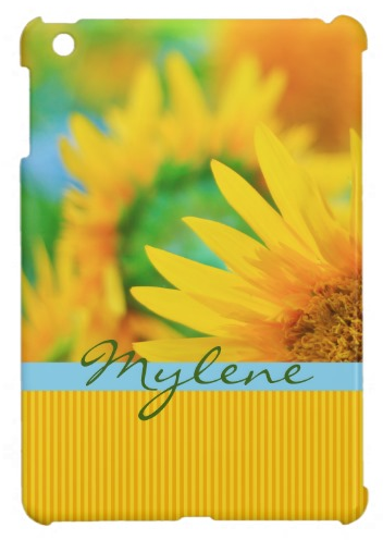 Cheerful Happy Yellow Sunflower Blue Orange Stripe iPad Mini Cases