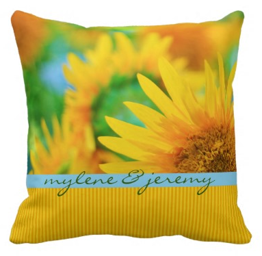 Cheerful Happy Yellow Sunflower Blue Orange Stripe Throw Pillow