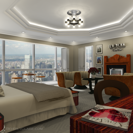 3D visualization of chandelier in an Art Deco-style hotel room
