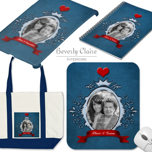 Fancy Blue Metallic Frame Red Ribbon & Heart Products