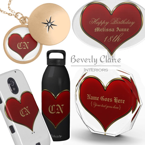 Classic Vivid Red Heart with Gold Metallic Border Products