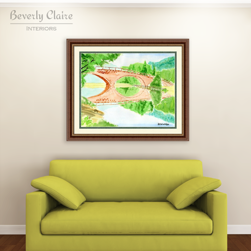 """Bridge of Dreams"" watercolor framed print with green Citta sofa, by Beverly Claire Interiors"