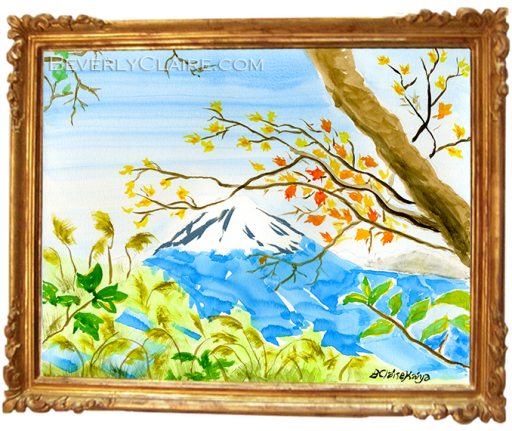 My watercolor of a view of Mt. Fuji
