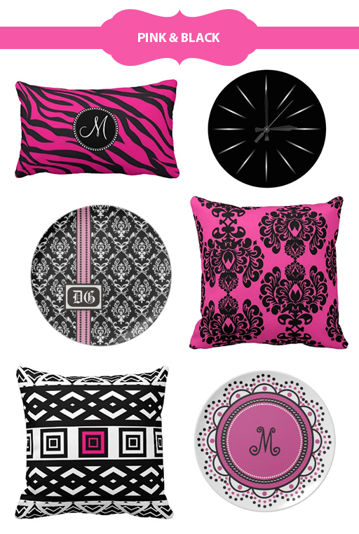 Selection of pink and black home accessories at beverlyclaire.com