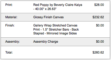 Cost breakdown of Red Poppy Canvas Print by Beverly Claire Interiors