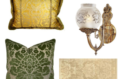 damask accents in green - photo #36