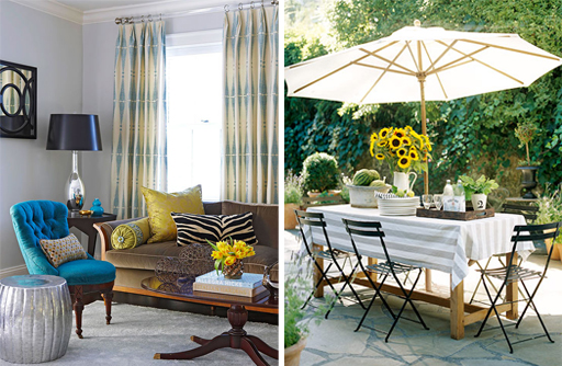 (Left) Bold and subtle color combination for a living room. Image courtesy of BHG. (Right) Casual outdoor dining with sunflowers. Image courtesy of BHG.