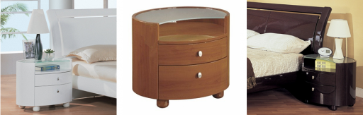 Global Furniture Emily Nightstands in Glossy Wenge, Glossy White and Cherry