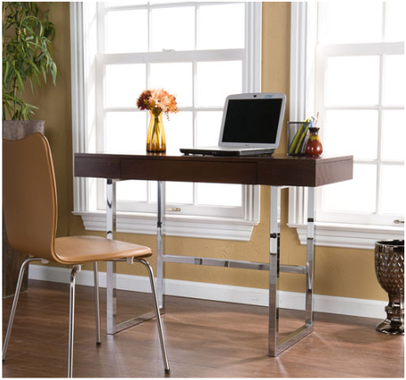 Micah Espresso Stain Desk Espresso and Chrome