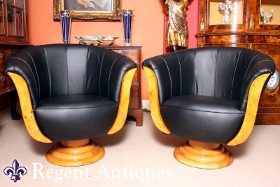 Pair Art Deco Black Leather & Birdseye Maple Armchairs