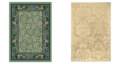 Milliken & Company Rose Damask Peridot Rug and Couristan Impressions Antique Damask Gold and Ivory Rug