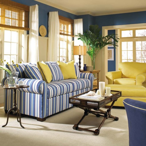 Bold blue walls in a living room. Image courtesy of Nell Hill's Blog.