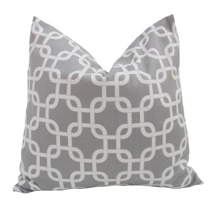 Decorative Designer Pillow Cover-18 inch-Geometric Gotcha In Ash Grey