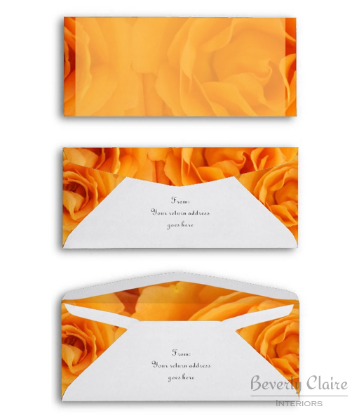 Beautiful Monogram Yellow Orange Hybrid Tea Roses Envelope