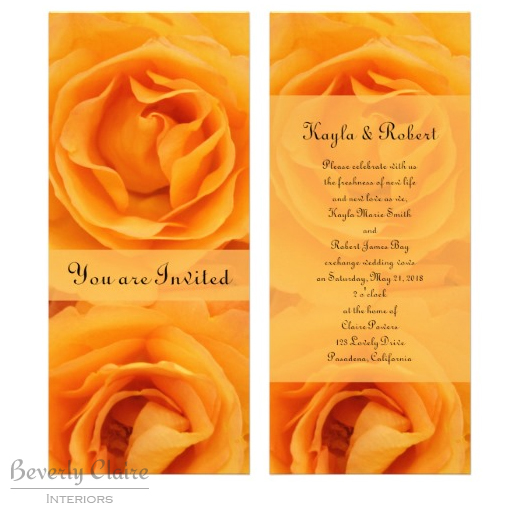 Beautiful Monogram Yellow Orange Hybrid Tea Roses Personalized Invite