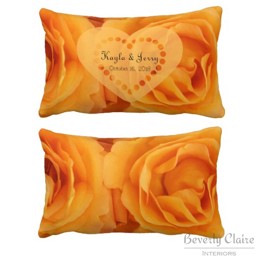 Monogram Beautiful Orange Hybrid Tea Roses Heart Pillows