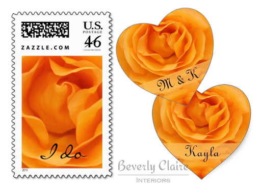 Beautiful Orange Hybrid Tea Rose I Do Wedding Postage & Stickers