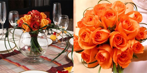 Orange rose centerpiece and bouquet by Global Rose