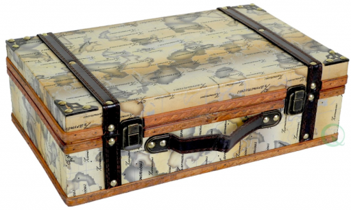 Old World Map Wooden Small Trunk Box