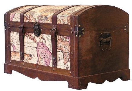 Victorian Ancient World Map Wooden Trunk Wood Treasure Chest