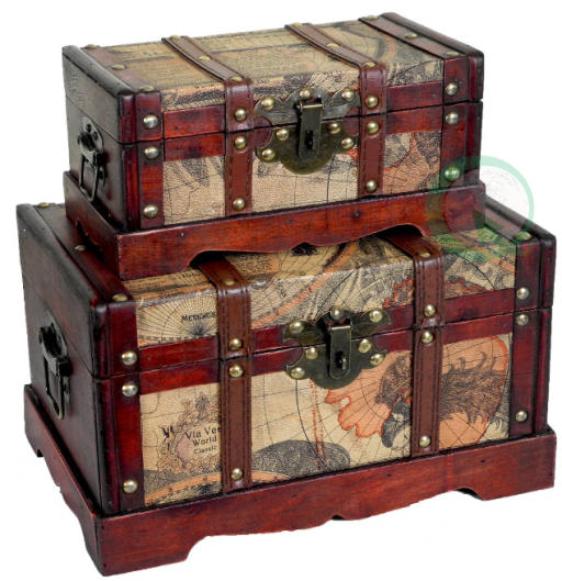 Old World Map Wooden Trunk in Antique Cherry